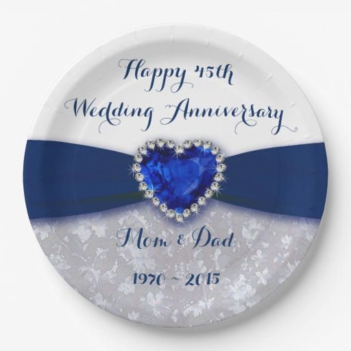Damask 45th Wedding Anniversary Paper Party Plate Zazzle