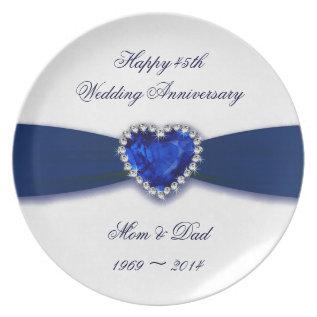 Damask 45th Wedding Anniversary Plate at Zazzle