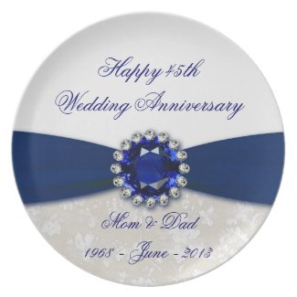 Damask 45th Wedding Anniversary Plate