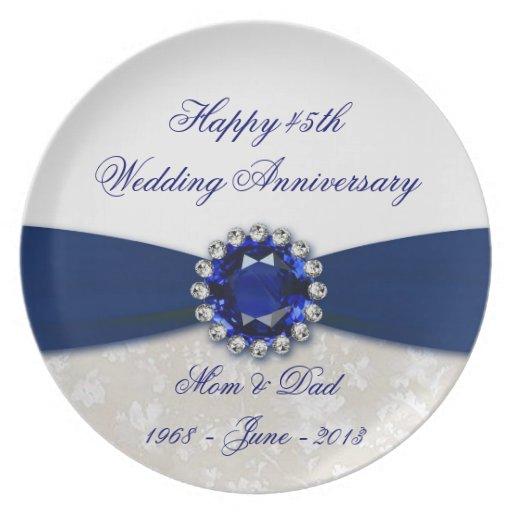 Damask 45th Wedding Anniversary Plate Zazzle