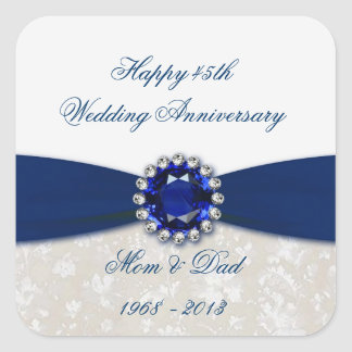 Damask 45th Wedding Anniversary Sticker