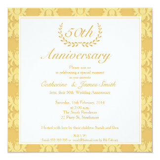 Damask 50th Golden Wedding Anniversary Invitation 0ESOCrt3