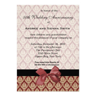 Damask 50th Wedding Anniversary Announcements