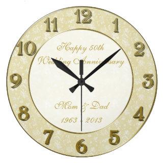 damask 50th wedding anniversary clock - Anniversary Clock