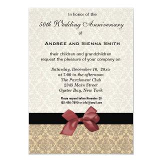 Damask 50th Wedding Anniversary Custom Invitations