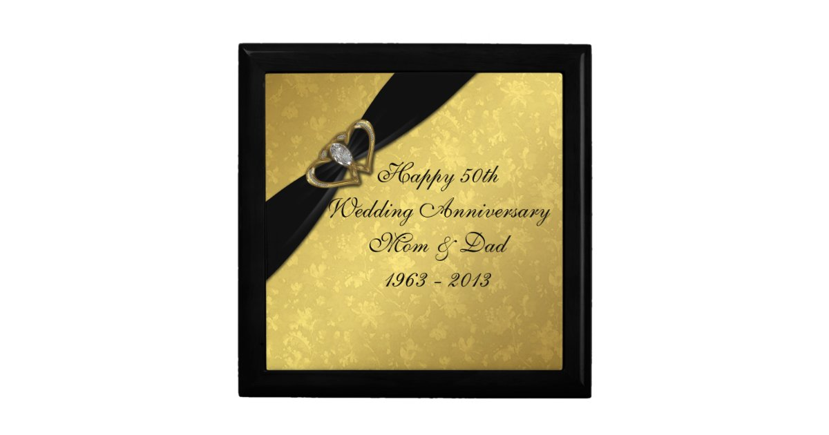 Wedding Anniversary Gift Box : Damask 50th Wedding Anniversary Gift Box Zazzle