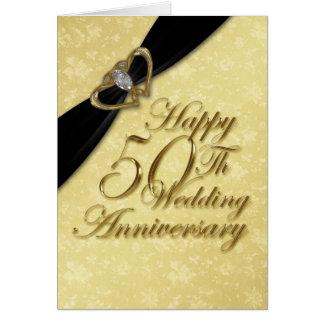Damask 50th Wedding Anniversary Greeting Card