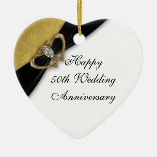 Damask 50th Wedding Anniversary Heart Ornament
