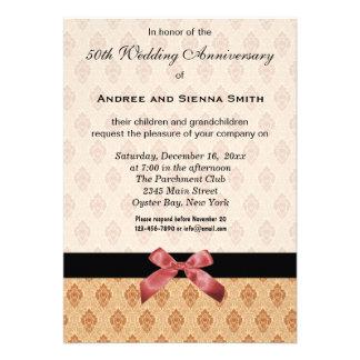 Damask 50th Wedding Anniversary Personalized Invites