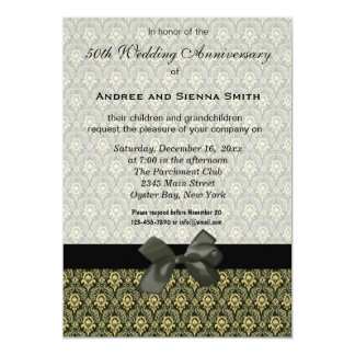 Damask 50th Wedding Anniversary Custom Invitation