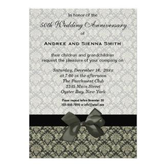 Damask 50th Wedding Anniversary Invitations