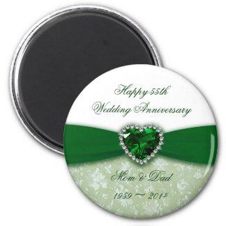 Damask 55th Wedding Anniversary 2 Inch Round Magnet