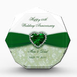 """Damask 55th Wedding Anniversary Acrylic Award<br><div class=""""desc"""">A Digitalbcon Images Design featuring an emerald green and white color and damask design theme with a variety of custom images, shapes, patterns, styles and fonts in this one-of-a-kind &quot;Damask 55th Wedding Anniversary Design&quot;. With this attractive and elegant design choice you&#39;ll have all your decorations, gift ideas and party favors...</div>"""