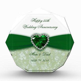 Damask 55th Wedding Anniversary Acrylic Award