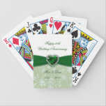 """Damask 55th Wedding Anniversary Bicycle Playing Cards<br><div class=""""desc"""">A Digitalbcon Images Design featuring an emerald green and white color and damask design theme with a variety of custom images, shapes, patterns, styles and fonts in this one-of-a-kind &quot;Damask 55th Wedding Anniversary Design&quot;. With this attractive and elegant design choice you&#39;ll have all your decorations, gift ideas and party favors...</div>"""