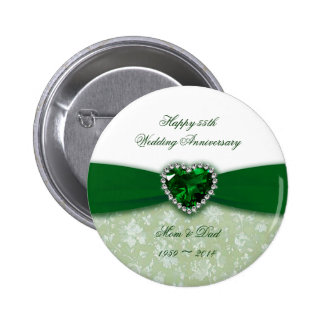Damask 55th Wedding Anniversary Button