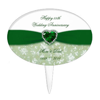 Damask 55th Wedding Anniversary Cake Topper