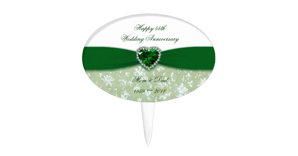 Damask 55th Wedding Anniversary Cake Topper Zazzle Com