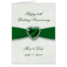Damask 55th Wedding Anniversary Card