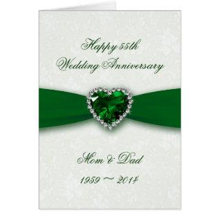 Damask 55th Wedding Anniversary Card at Zazzle