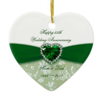 Damask 55th Wedding Anniversary Ceramic Ornament