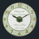 """Damask 55th Wedding Anniversary Clock<br><div class=""""desc"""">A Digitalbcon Images Design featuring an Emerald green and Damask design theme with a variety of custom images, shapes, patterns, styles and fonts in this one-of-a-kind &quot;55th Wedding Anniversary&quot; Clock. This elegant and attractive design makes the ideal gift for the Anniversary Couple on the special occasion and comes complete with...</div>"""