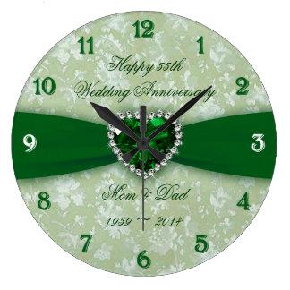 Damask 55th Wedding Anniversary Clock