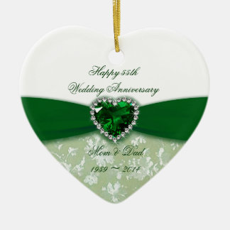 Damask 55th Wedding Anniversary Double-Sided Heart Ceramic Christmas Ornament