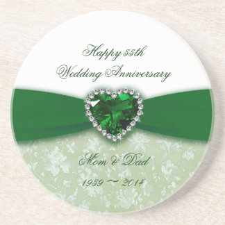 Damask 55th Wedding Anniversary Drink Coaster