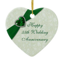 Damask 55th Wedding Anniversary Heart Ornament