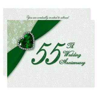 Damask 55th Wedding Anniversary Invitation