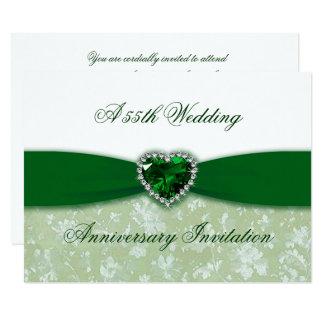 Damask 55th Wedding Anniversary Invitation