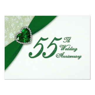"Damask 55th Wedding Anniversary Invitation 6.5"" X 8.75"" Invitation Card"