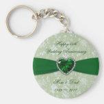 Damask 55th Wedding Anniversary Keychain
