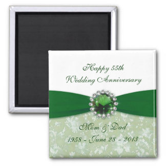 Damask 55th Wedding Anniversary Magnet