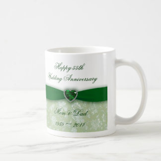 Damask 55th Wedding Anniversary Classic White Coffee Mug