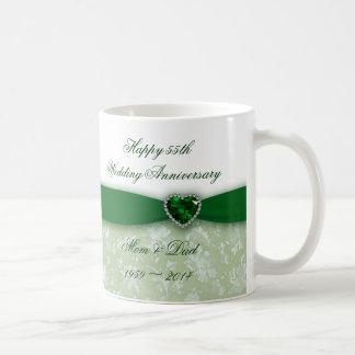 Damask 55th Wedding Anniversary Coffee Mugs
