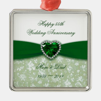 Damask 55th Wedding Anniversary Ornament