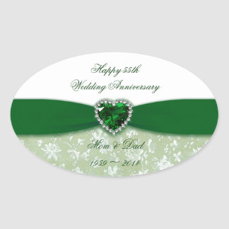Damask 55th Wedding Anniversary Oval Sticker