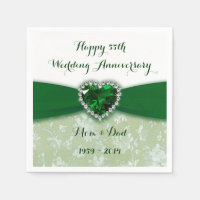 Damask 55th Wedding Anniversary Paper Napkins