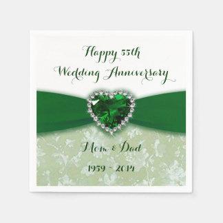 Damask 55th Wedding Anniversary Paper Napkins