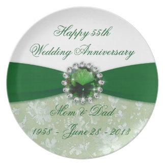 Damask 55th Wedding Anniversary Plate