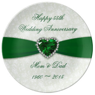 Damask 55th Wedding Anniversary Porcelain Plate at Zazzle