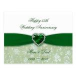 Damask 55th Wedding Anniversary Postcard