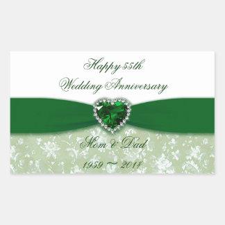 Damask 55th Wedding Anniversary Rectangular Sticker