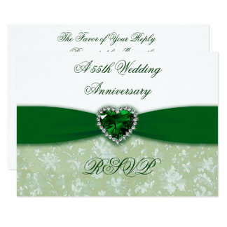Damask 55th Wedding Anniversary RSVP Card