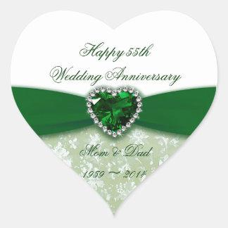 Damask 55th Wedding Anniversary Heart Stickers