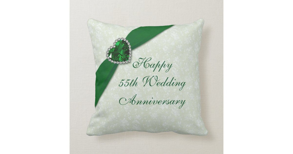 Damask 55th Wedding Anniversary Throw Pillow Zazzle