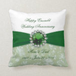 "Damask 55th Wedding Anniversary Throw Pillow<br><div class=""desc"">A Digitalbcon Images Design featuring an Emerald Green color and Damask Design theme with a variety of custom images,  shapes,  patterns,  styles and fonts in this one-of-a-kind &quot;Emerald Wedding Anniversary&quot; Throw Pillow. This attractive and elegant design comes complete with customizable text lettering to suit your own special occasion.</div>"