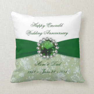 Damask 55th Wedding Anniversary Throw Pillow